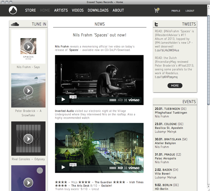Erased Tapes Records Website 4
