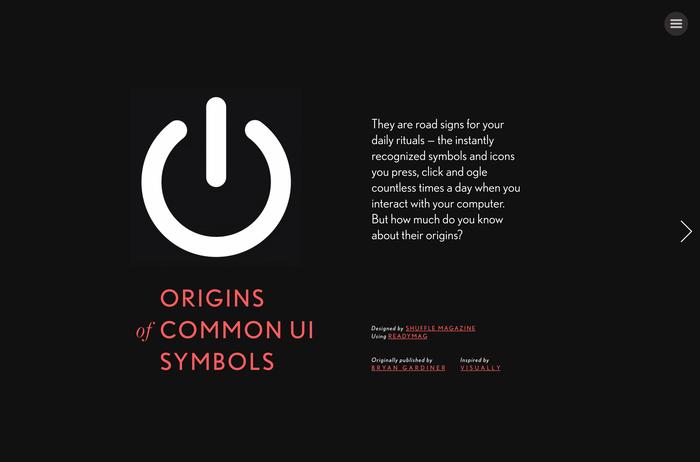 """Origins of Common UI Symbols"", Shuffle Magazine Edition 1"