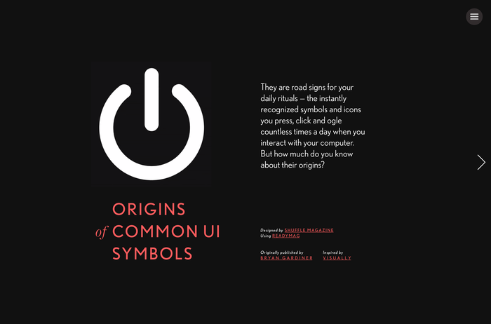 """Origins of Common UI Symbols"", Shuffle Magazine Edition 1"