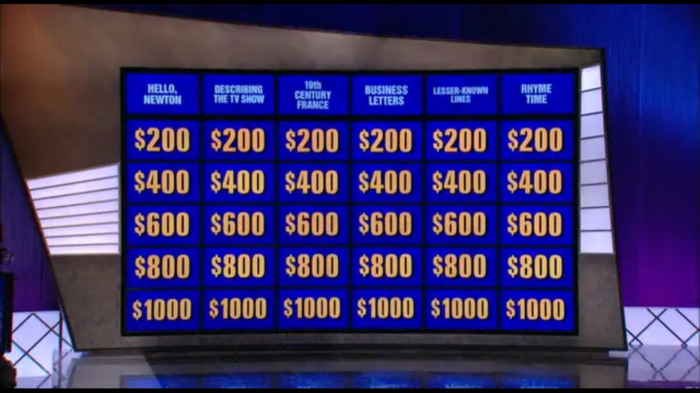 This is a picture of Jeopardy Game Board Printable inside student