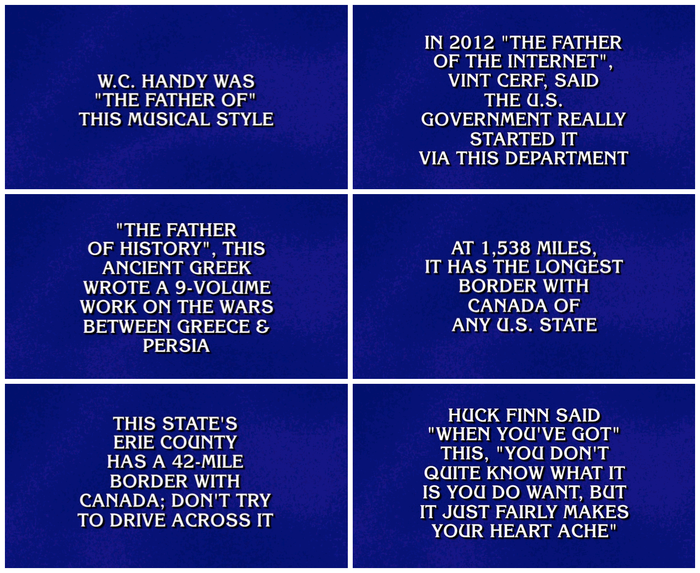 ITC Korinna has been used for clue cards since the beginning of the game show's syndication run in 1984. If the strange type choice doesn't distract type nerds from successfully playing Jeopardy! the lack of proper quotes and apostrophes will.