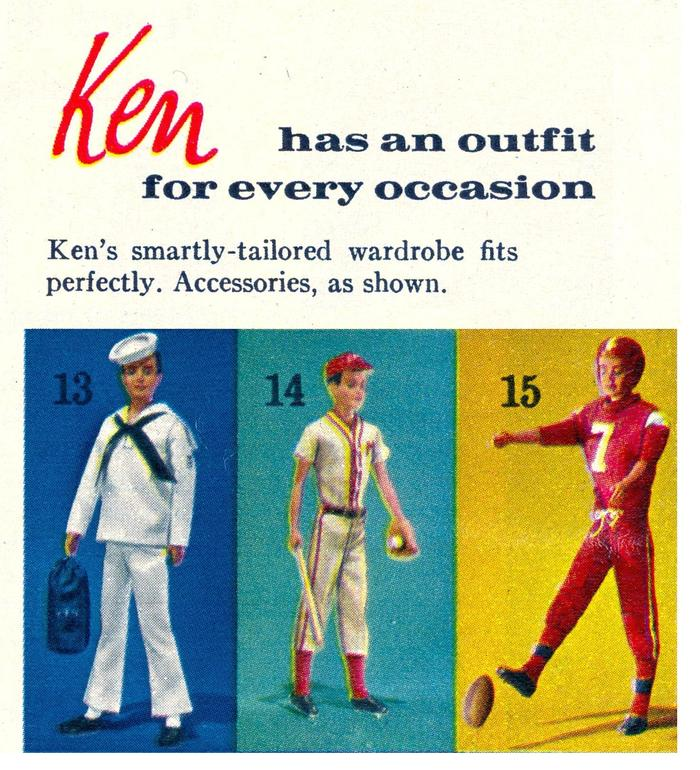 "Ken™ doll wordrobes: ""Ken has an outfit for every occassion."""