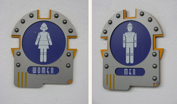 ITC Anna for the bathroom signs. The font's 'M' and 'U' are rotated for 'W' and 'N' to keep the look more rounded than sharp and pointy.