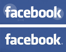 Klavika (above) and the Facebook logo (below) showing adjustments to the 'f' arch, the 'fa' connection, the 'k', and widths of other letters.