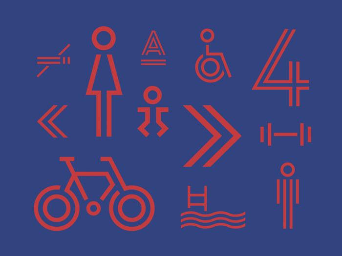 Iconic symbols were designed to match the multi-linear style of Landmark.