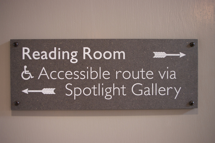 All nameplates and direction signs are Arizona printed on Valchromat. While exhibition graphics are fixed with hidden fixings, these are face-fixed as though part of the building. It seemed a pragmatic decision for a building concerned with arts & crafts.