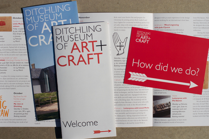 Leaflets and feedback card. What's on and General leaflet designed with Natalie Braune.