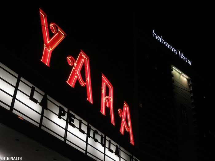 YARA movie theater neon sign 2