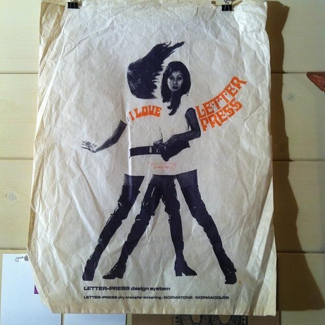 """""""I Love Letterpress"""" vintage paper bag"""