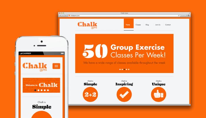 Chalk's respnsive website maintans the strong orange + Eames Century Stencil brand.