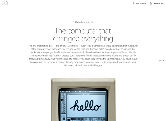 Thirty Years of Mac website 6