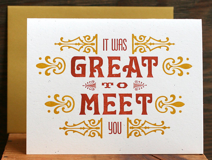 """Great To Meet You"" letterpress card 3"