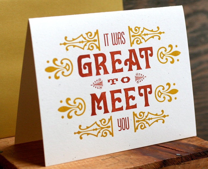 """Great To Meet You"" letterpress card 4"