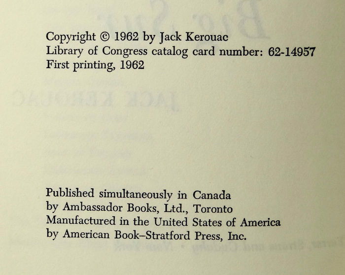 Big Sur by Jack Kerouac, first edition 4