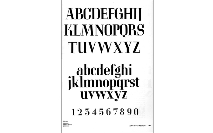 Corvinus specimen page from Dover's Classic Typefaces and How to Use Them.