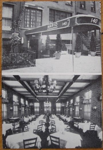 """This is a postcard showing 'The Original Mario Restaurant, 140 West 13th Street, New York City, NY.' Divided back, postally-used in 1946, postmarked New York, NY"""