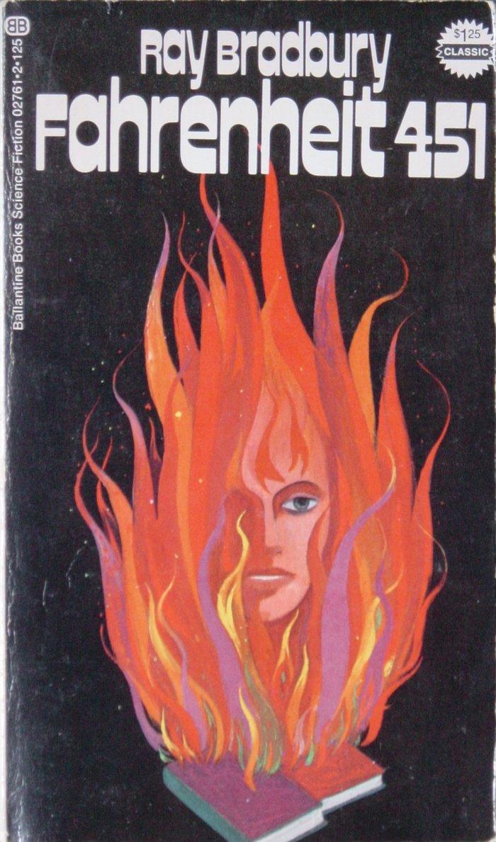 Fahrenheit 451 book cover, 1972 Ballantine Books edition 1