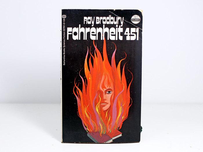 Fahrenheit 451 book cover, 1972 Ballantine Books edition 2