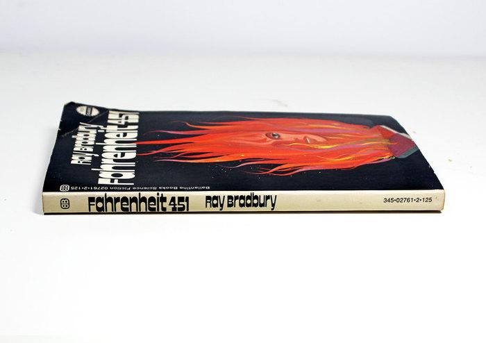 Fahrenheit 451 book cover, 1972 Ballantine Books edition 4