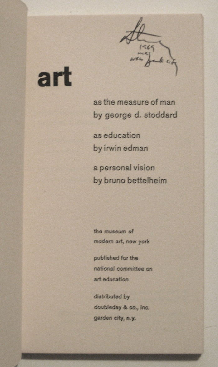 art: as the measure of man / as education / a personal vision 2