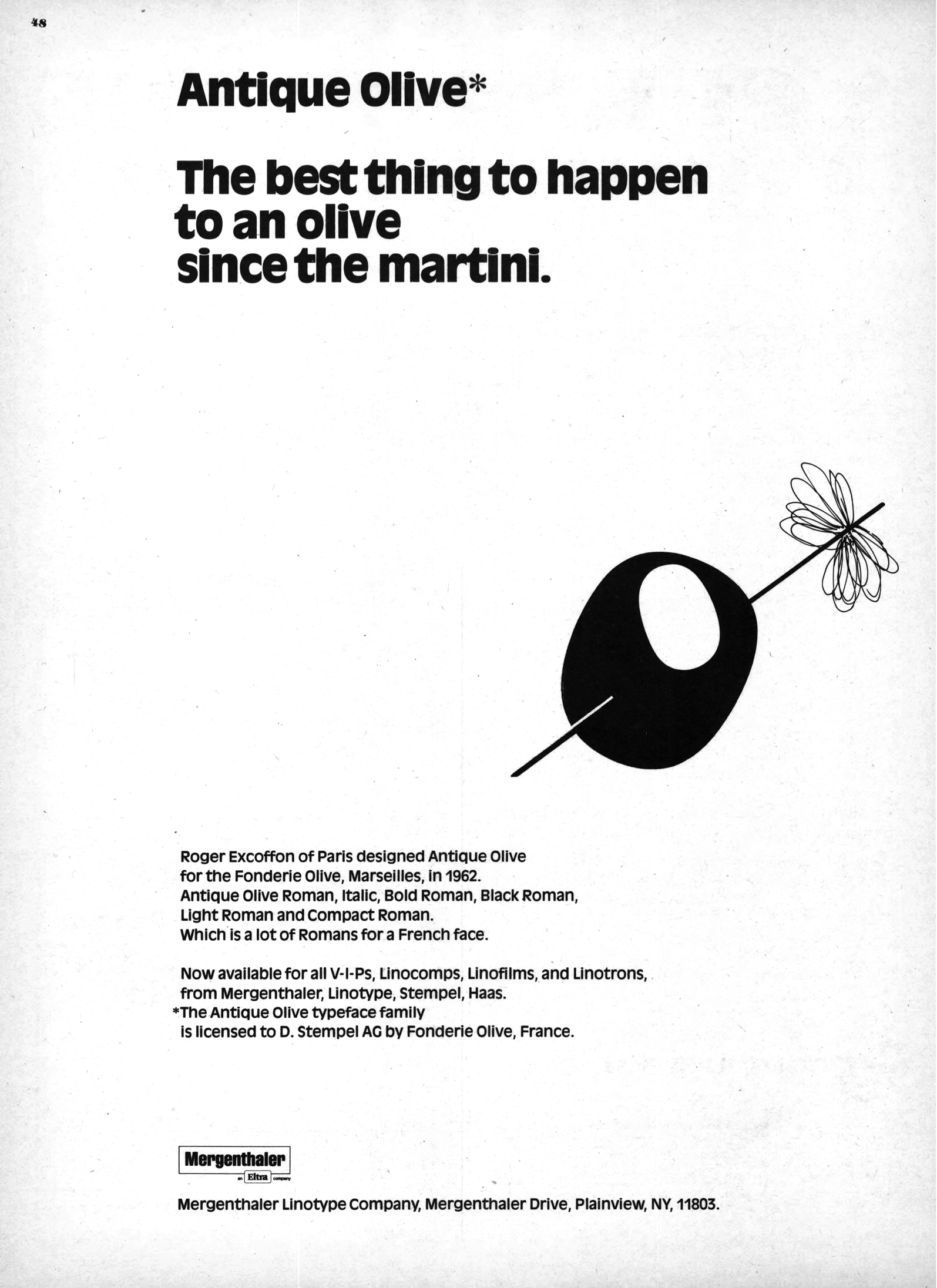 Mergenthaler Linotype ad for Antique Olive - Fonts In Use