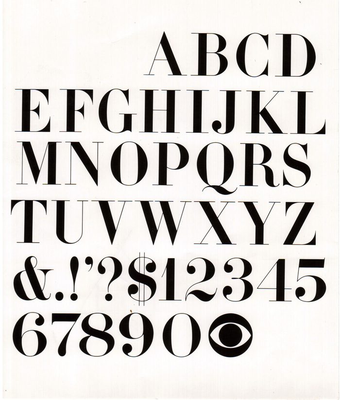 In 1962, Dorfsman commisioned legendary type designer Freeman Craw to add finishing touches to an earlier specimen drawn by CBS staffers George Lois and Kurt Weihs. (Graphic designer Will Burtin once claimed that Golden's original logo used a Didot specimen that Burtin stuffed into his suitcase when he fled Nazi Germany in 1939.)
