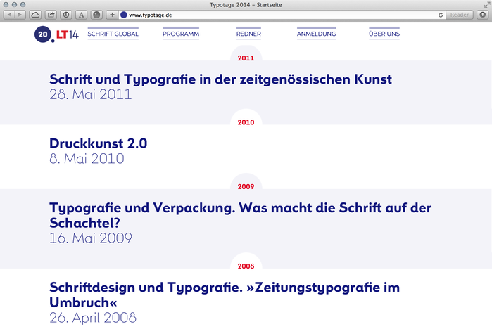 The titles of past conferences link to their respective old website and show how excellent the current design for 2014 is.