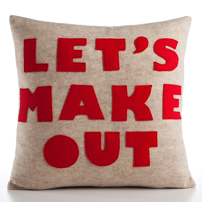 """Kiss Me"" and ""Let's Make Out"" pillows 1"