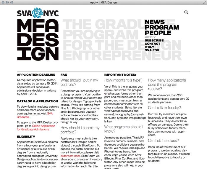 School of Visual Arts MFA Design 2