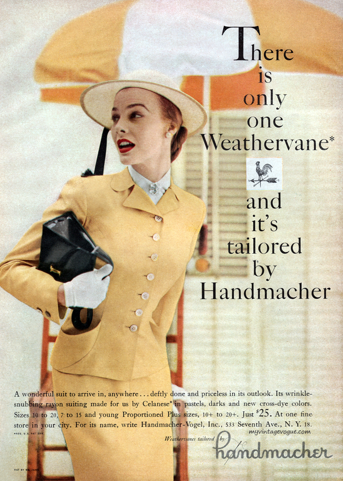 """Handmacher ad: """"There is only one Weathervane"""""""