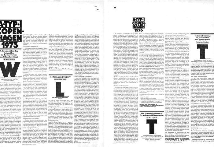 Unfortunately the pages from this report on ATypI 1973 were overcropped in Monotype's scan. If anyone has a better image, please tell us.