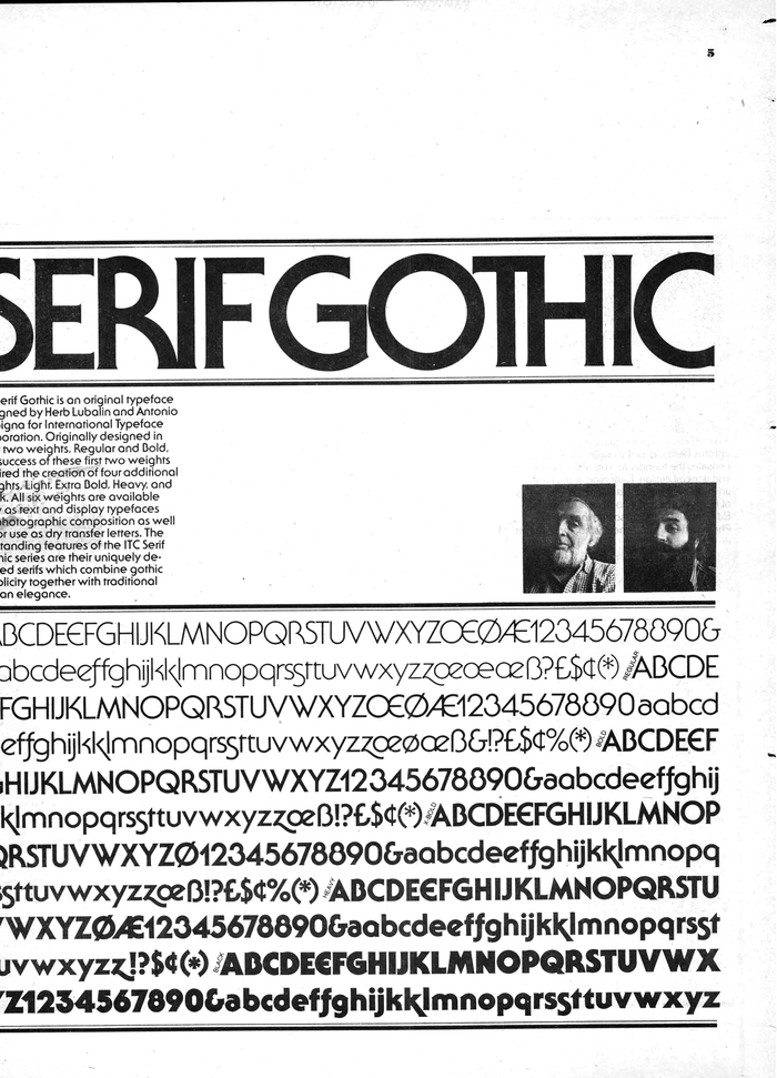 Unfortunately this page announcing ITC Serif Gothic's new weights was overcropped in Monotype's scan. If anyone has a better image, please tell us.