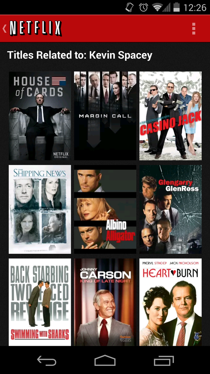 Netflix Android app.
