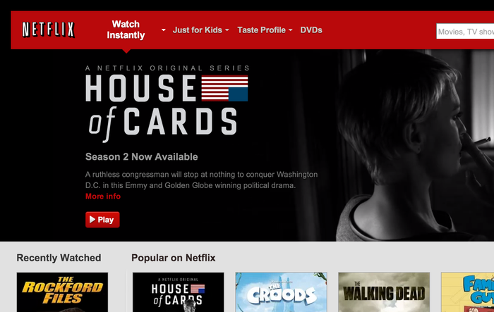 The Netflix website. See also our entry on House of Cards.