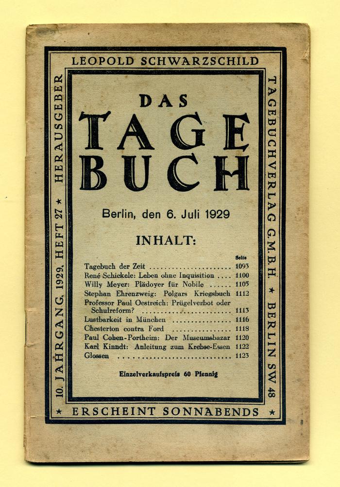 Das Tage-Buch, by Leopold Schwarzschild (Ed.)