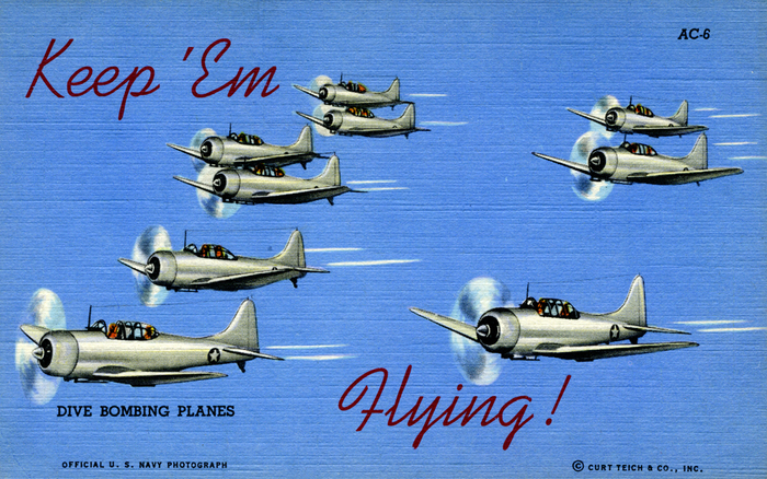 """Keep 'Em Flying"" US Air Corps postcards 2"