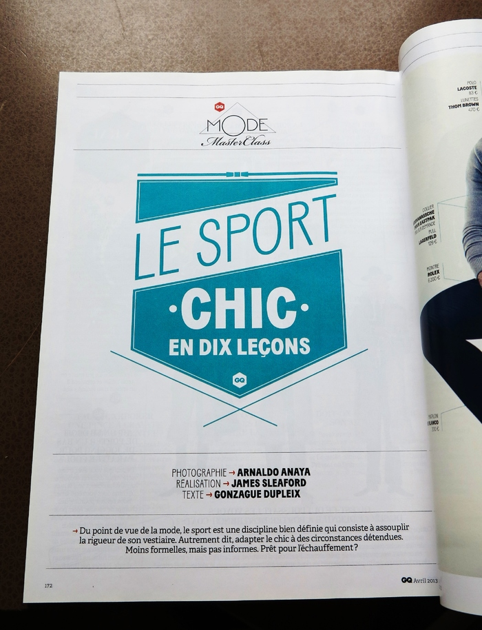 """Le sport chic en dix leçons"" in GQ France, April 2013 1"