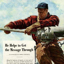 "Bell Telephone System ad: ""He Helps to Get the Message Through"""
