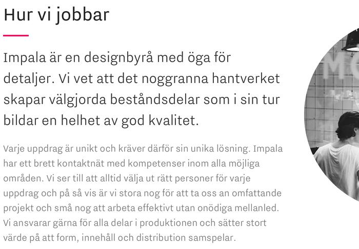 Impala Designbyrå website 1