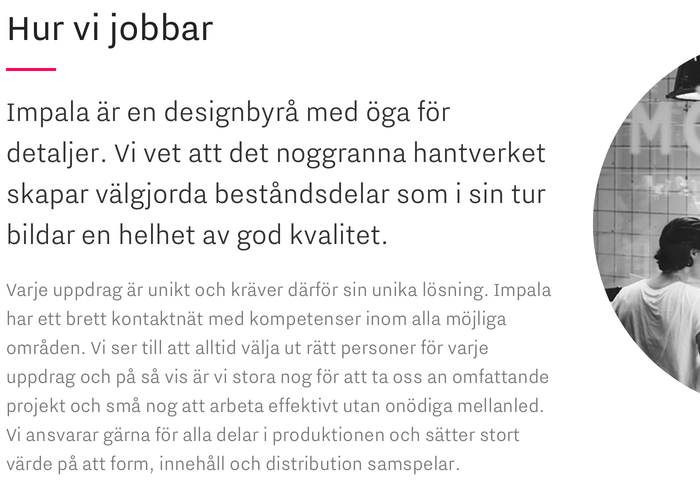 Impala Designbyrå website 1