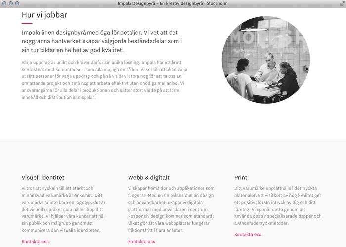 Impala Designbyrå website 3