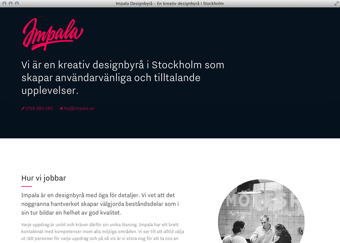 Impala Designbyrå website 4