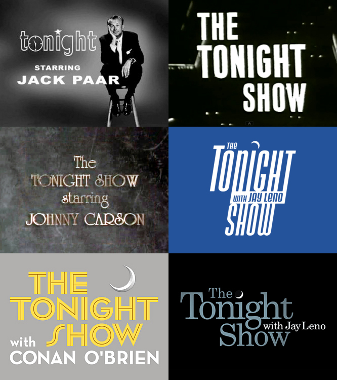 "Past Tonight Show logos have been everything from cute to gawky. Each proved to be a sign of design fads and eccentricities of the time period. Carson's identity changed many times, but it was set in University Roman for nearly a decade. Jay Leno's worst logos often displayed the ""dark side"" of new digital typographic technologies (squishing and forced italics). Maybe the coolest Tonight Show identity ever, Conan O'Brien's used a modified version of Neutraface No. 2."