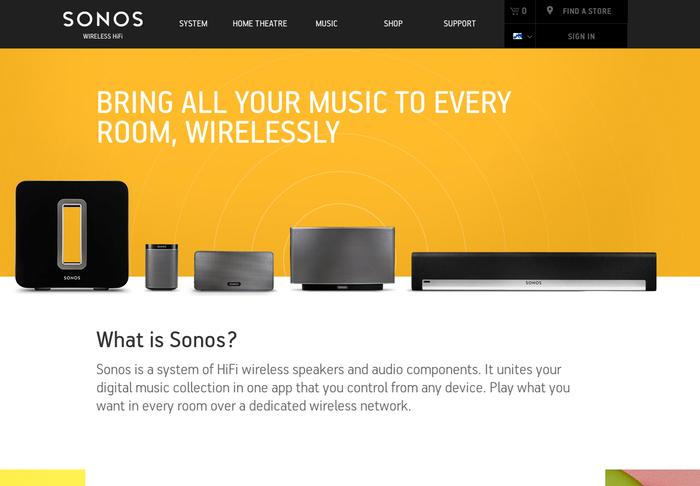 Sonos website 2