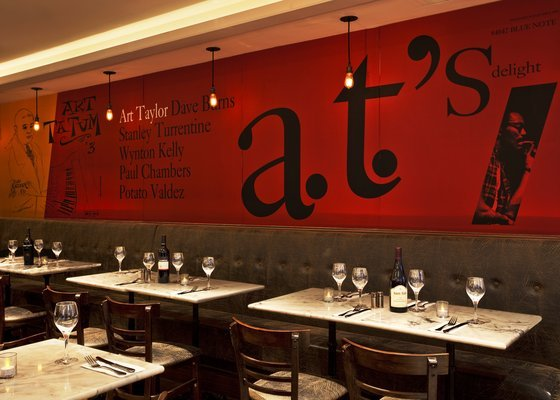 Raffles Bistro on Lexington Ave. in New York City features wall art inspired by this and several other vintage jazz album covers.