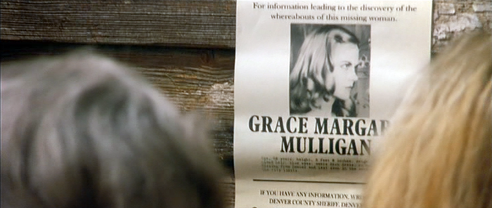 Policemen from outside Dogville arrive on the scene twice, both times carrying a poster about Grace. The large type on the poster is set in Plantin (Headline Condensed?).