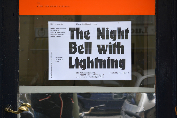 Poster for The Night Bell With Lightning in the window of KN, ft. .