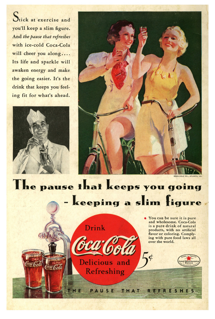 """""""The pause that keeps you going – keeping a slim figure"""" Coca-Cola ad"""
