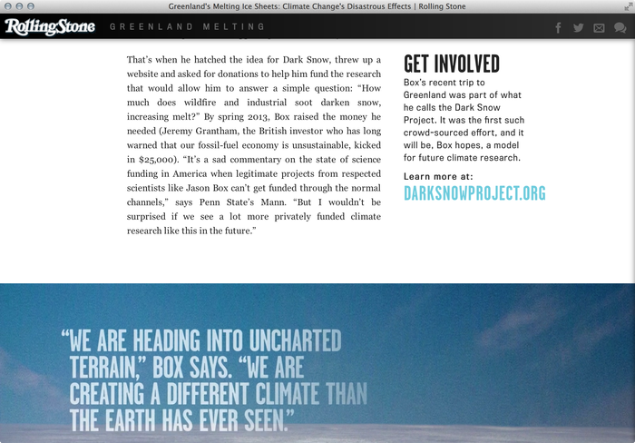 """""""Greenland Melting"""", Rolling Stone feature website 5"""
