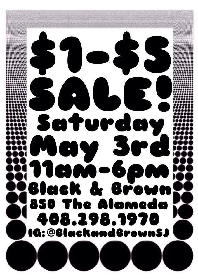 """Black & Brown ad: """"$1–$5 Sale!"""""""
